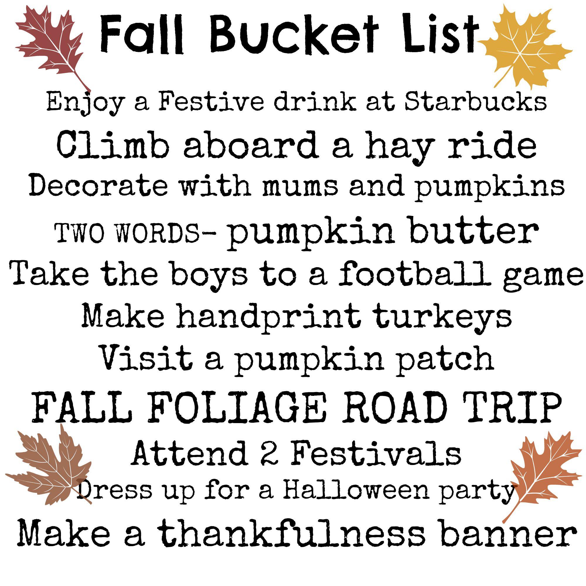Fall Bucket List 2
