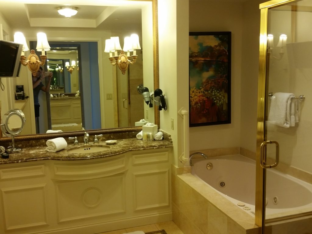 Bathroom at the Belterra Hotel and Casino. Loved the idea of watching TV from the bathtub!