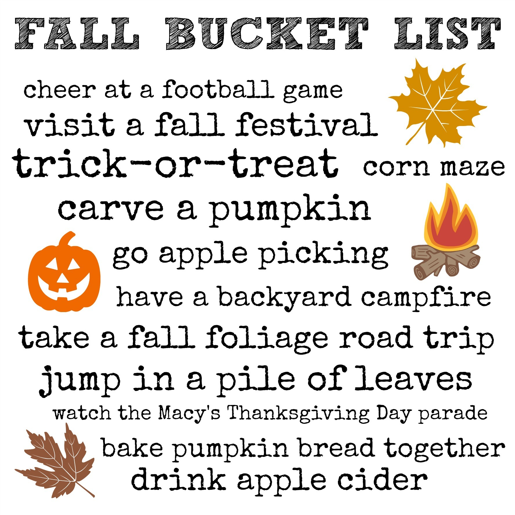 Fall Bucket List 2016 - free printable Fall Bucket List