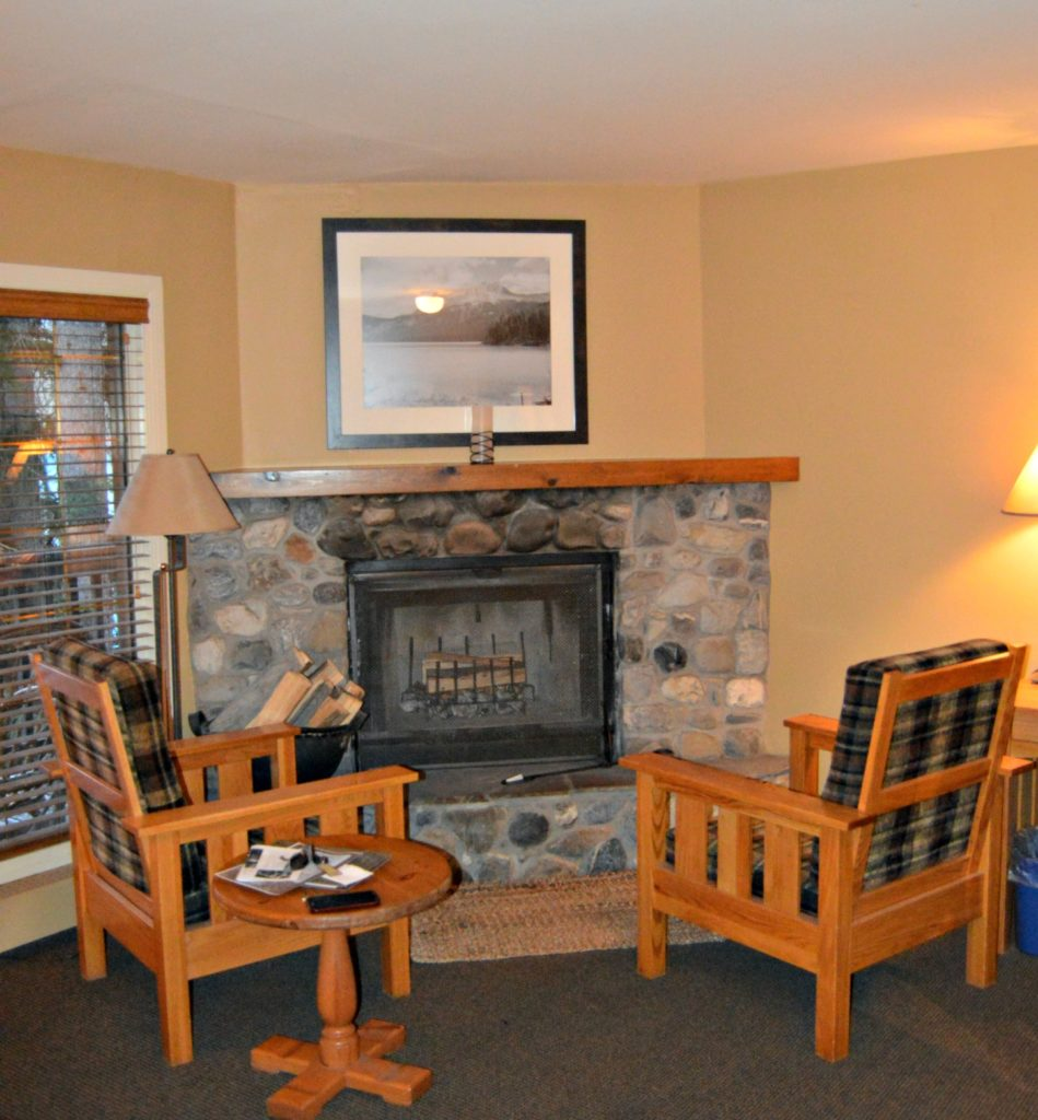 Emerald Lake Lodge- Field, BC - The fireplace is the centerpiece of the romantic cabin.