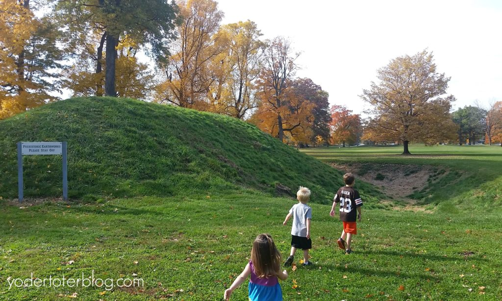 The kids running off energy at the Newark Earthworks, located in Newark Ohio.