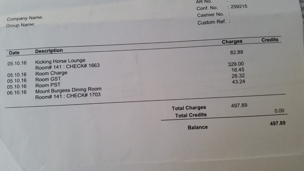 Emerald Lake Lodge invoice- Travel hacking the Canadian Rockies.