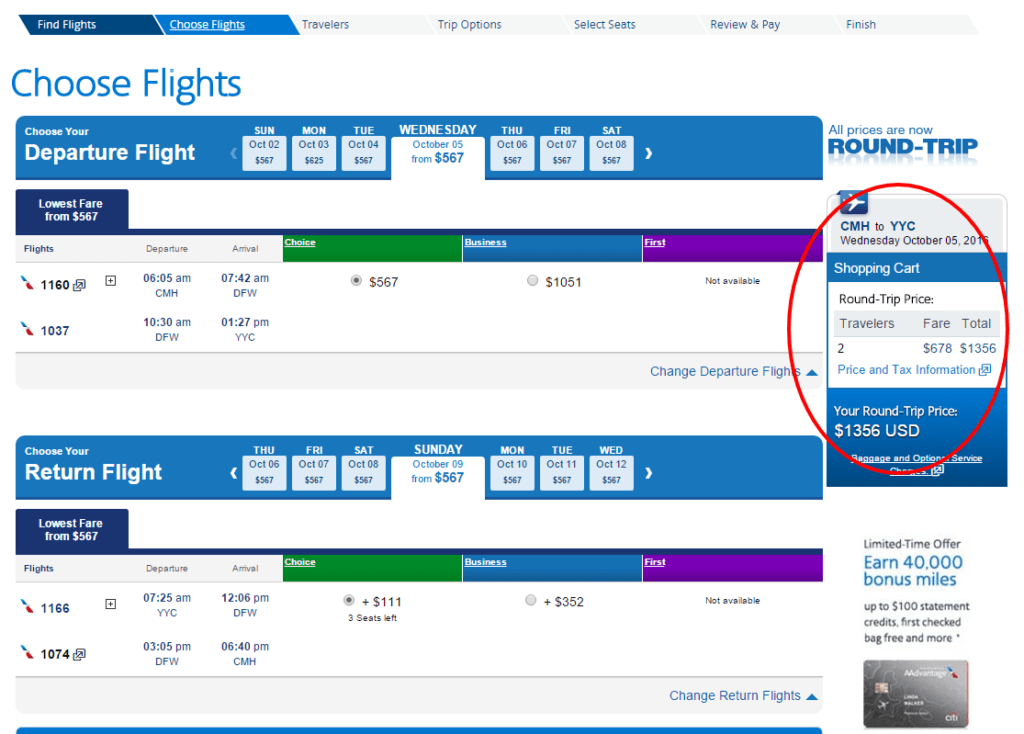 American Airlines- invoice showing what we saved by travel hacking. Travel hacking the Canadian Rockies.