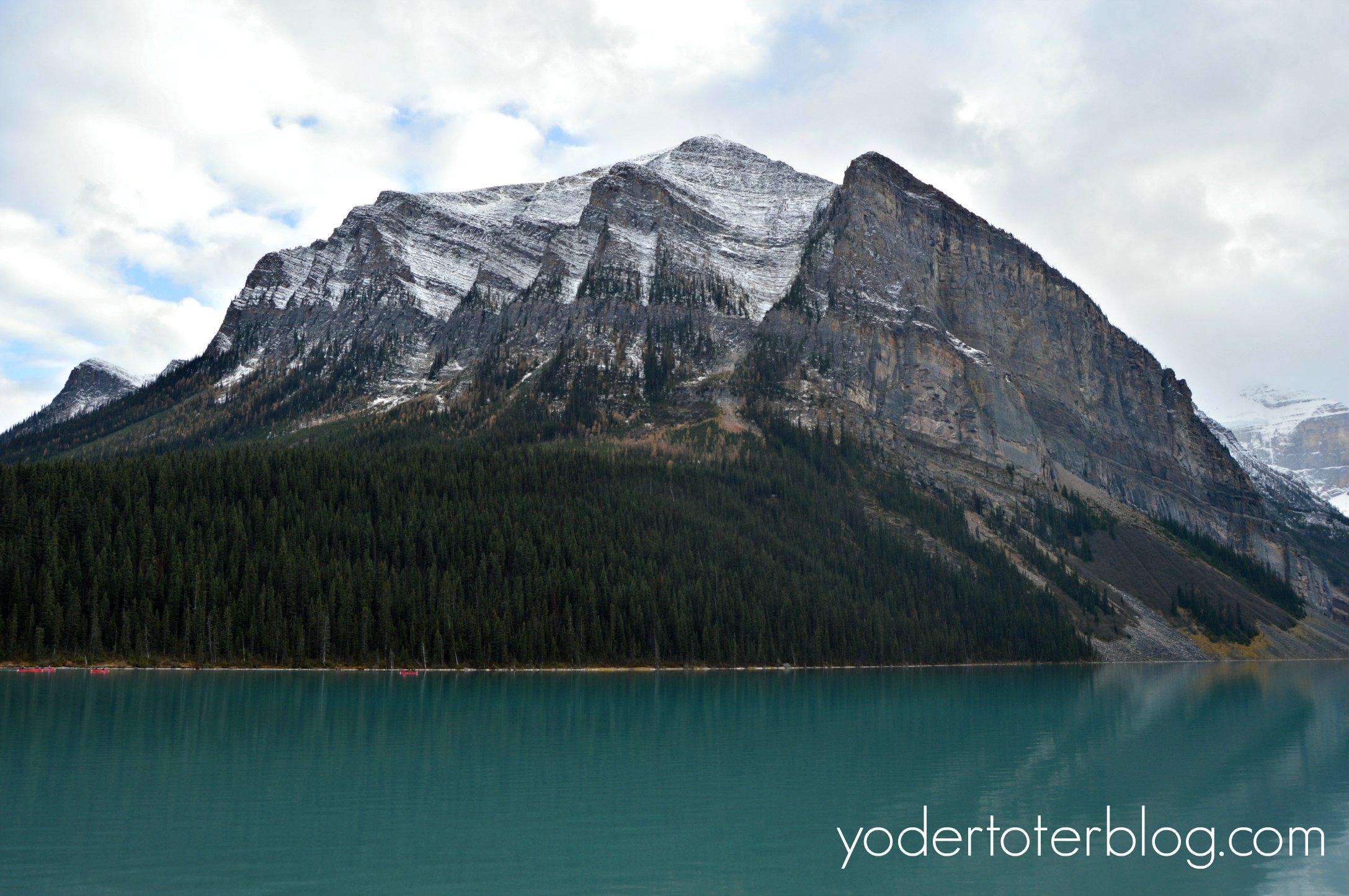 The breathtaking scenery outside of the Fairmont Chateau Lake Louise.