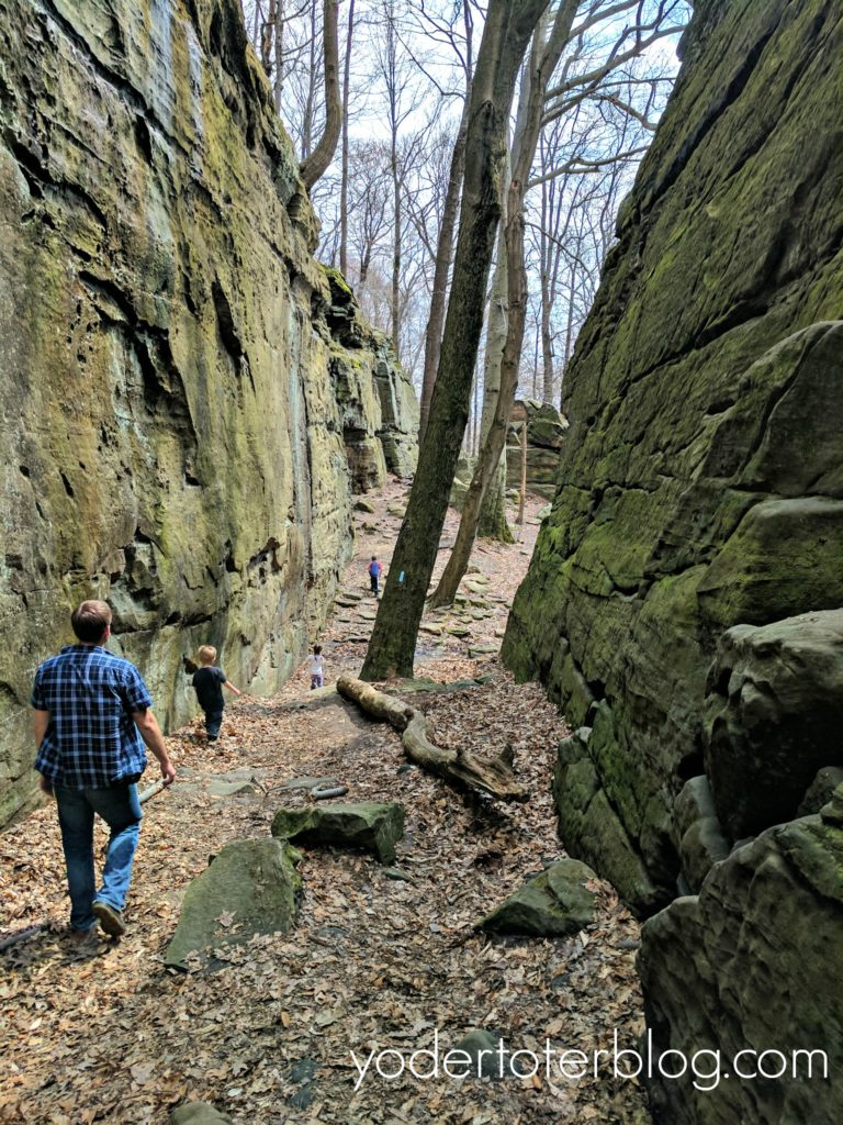 Hiking at Whipps Ledges in Hinckley Reservation, Northeast Ohio hiking trail.