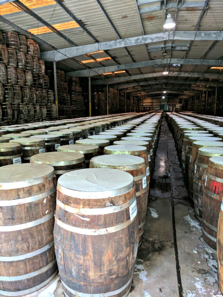The barrels of pepper mash at Avery Island, Louisiana. Avery Island is the home of TABASCO sauce.