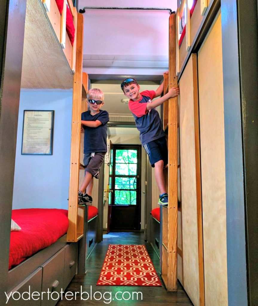 Hocking Hills Caboose- Unique Ohio Lodging- Bunk beds are fun for kids to sleep in!