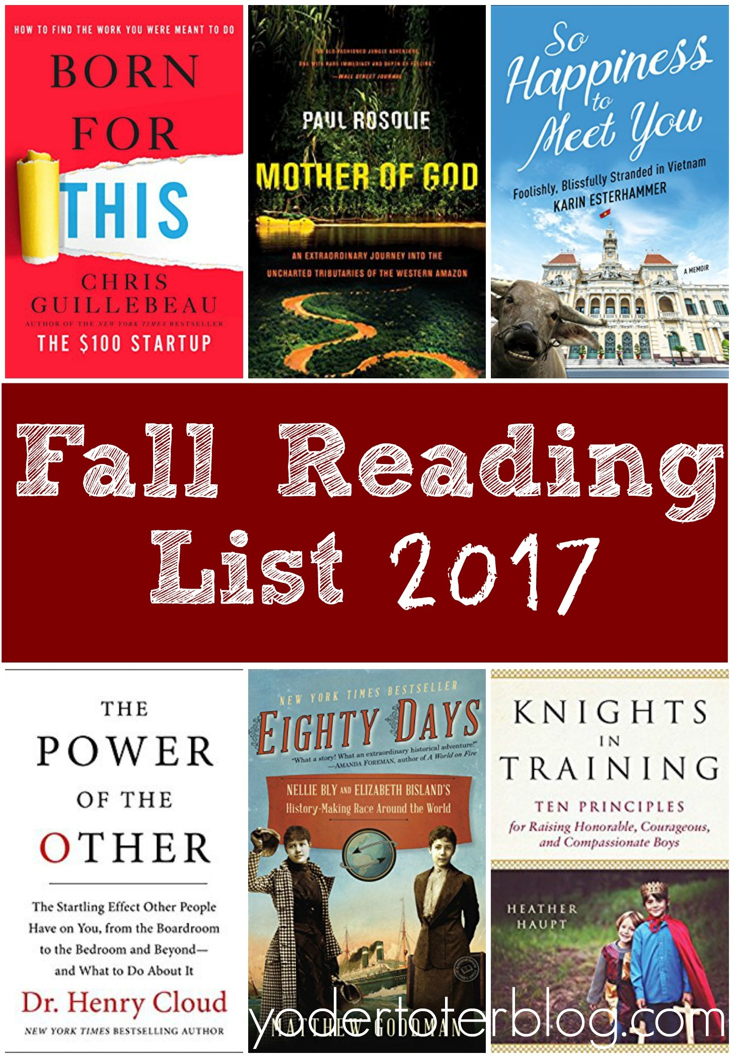 Fall reading list for 2017.  What I'm reading this fall.