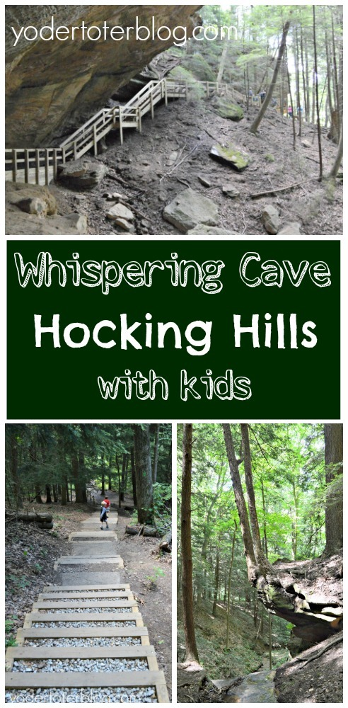 Yes, you can hike at Whispering Cave with kids.  Use my guide to this Hocking Hills trail before you visit.