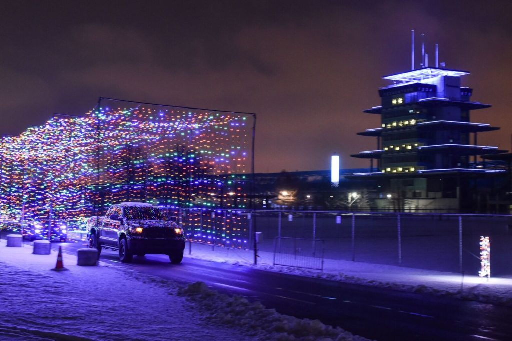 Lights at the Indy 500 racetrack - Holiday events within a 5 hour drive of Columbus