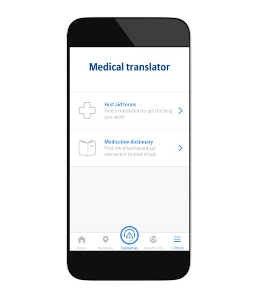 TravelSmart App by Global Allianz. Offers a medical translator of over 700 common drug names.