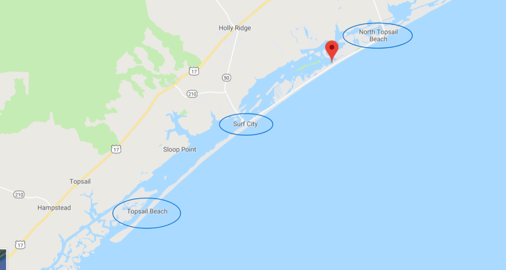 topsail island north carolina, surf city, things to do -Topsail Island Map - trip guide to Topsail Island, North Carolina - things to do and see in Surf City-