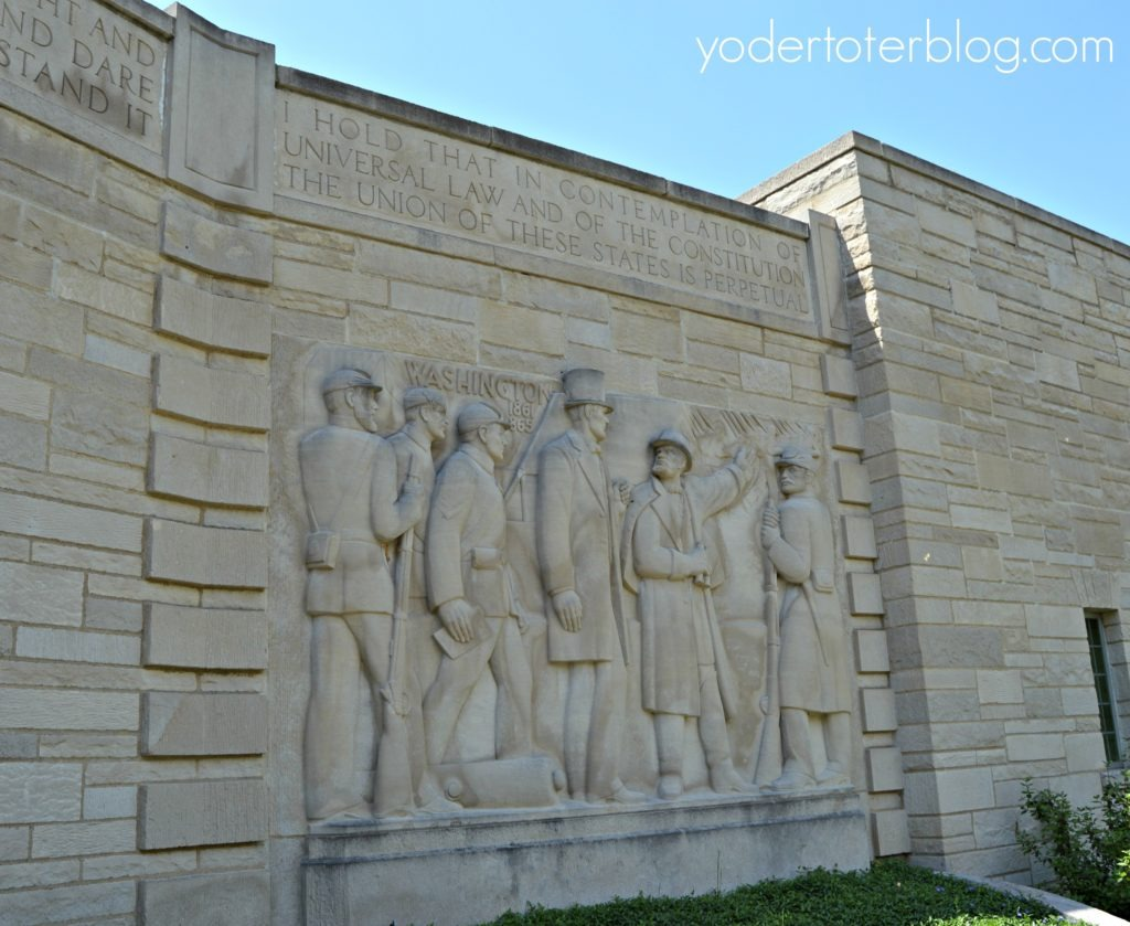 Lincoln's Boyhood Home - Lincoln City, Indiana - There are 5 Memorial Panels depicting the life of Abraham Lincoln.