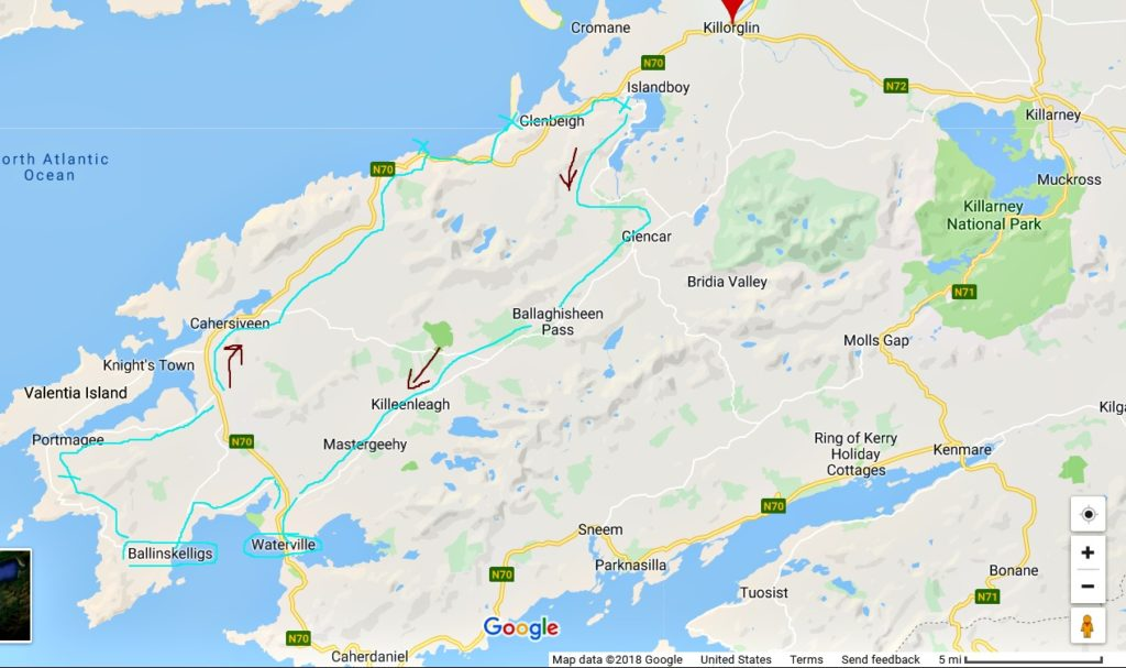 One day itinerary for the Ring of Kerry and Skellig Ring. Map of the Ring of Kerry and Skellig Ring.