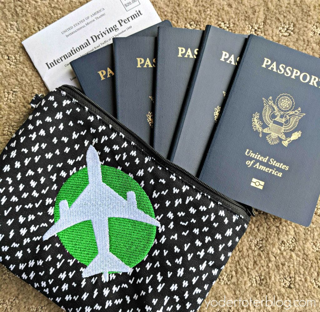 Packing for international travel with Thirty-One Giifts. I love how the Mini-Zipper pouch perfectly fit our passports and international driving permit. This is the fabric Lil Scribble with white and kelly green Icon It in airplane.