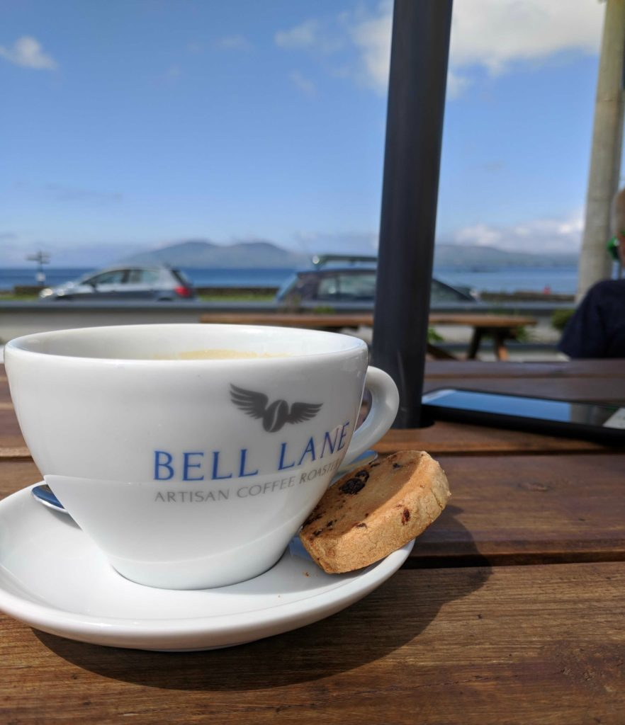 One day itinerary on the Ring of Kerry, Ring of Skellig - having coffee with a view at the Sea Lodge in Waterville, Ireland