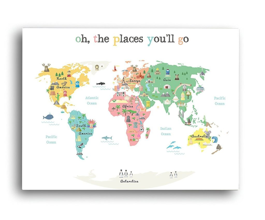 Oh, the places you'll go artwork, travel decor, travel inspired decor, Amazon home furnishings, travel quote signs