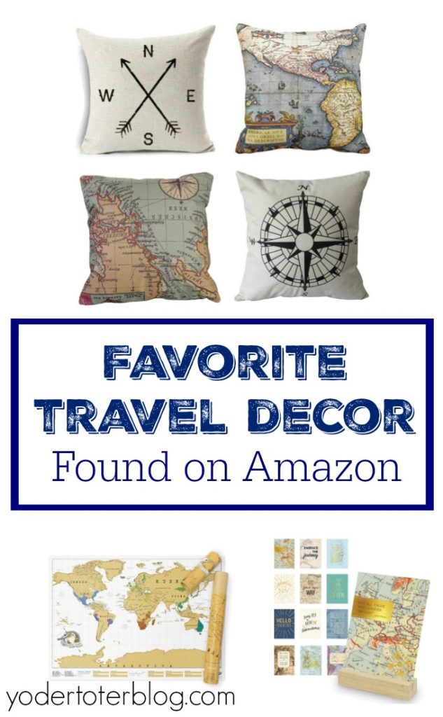 My favorite travel themed home decor items from Amazon!  Travel decor, travel inspired decor, or Amazon home furnishings for the travel addict.