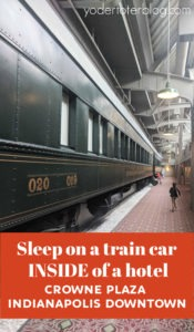 Sleep in a train car!  A stay at the Crowne Plaza Indianapolis Downtown Union Station gives you the opportunity to sleep on a train INSIDE of a hotel!  Feel the history as you visit this historic hotel in Indianapolis! #loveIndy #visitIndy #crowneplaza