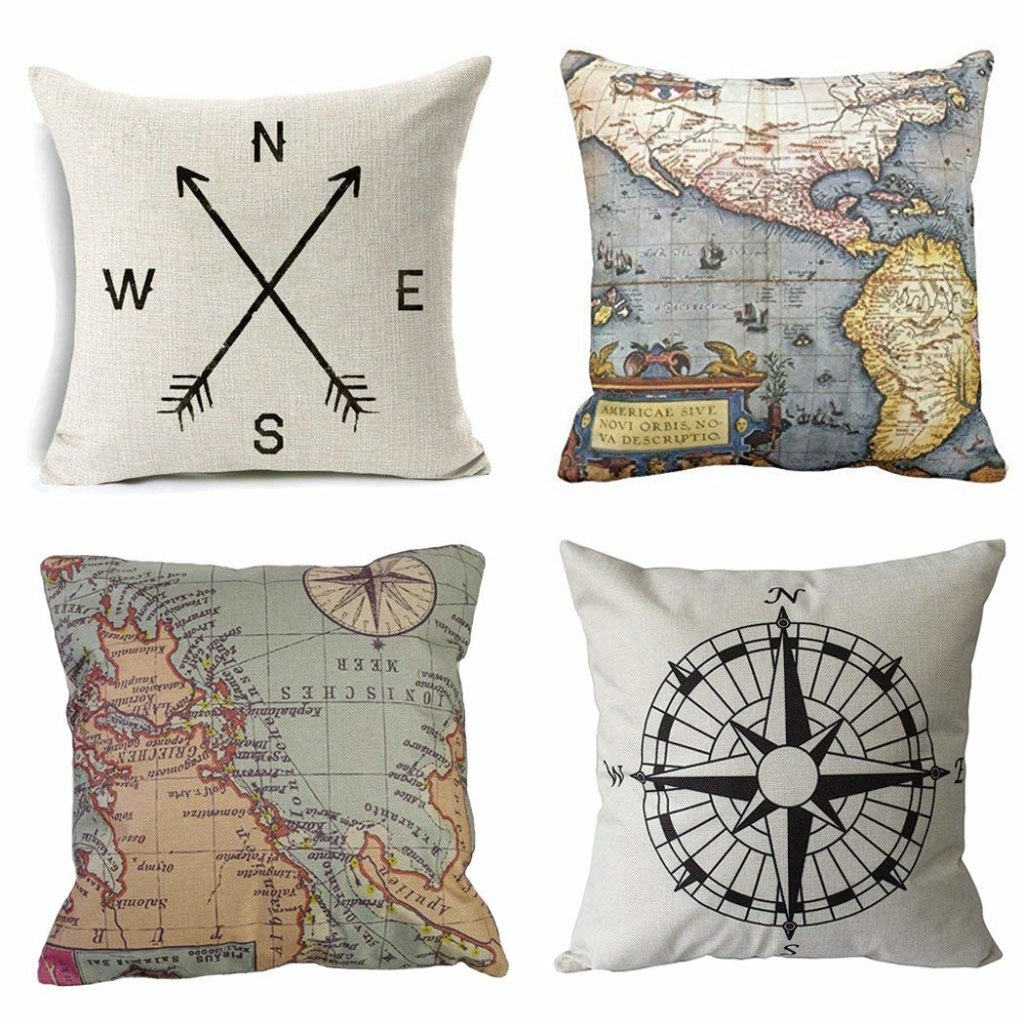 Travel themed pillow covers, travel decor, amazon home furnishings, wanderlust decor
