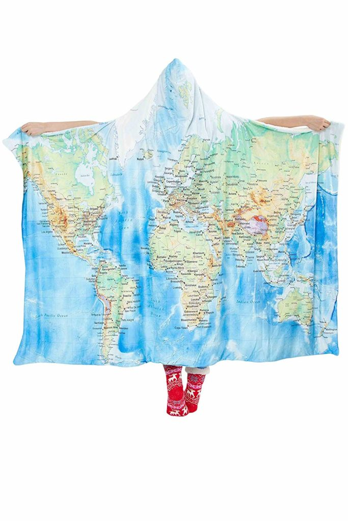 World snuggie, travel decor, travel inspired decor, Amazon home furnishings, travel quote signs