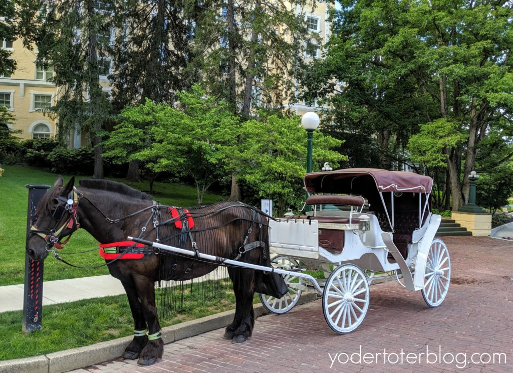 Carriage Ride around West Baden Springs Hotel.  French Lick Resort is a romantic resort of the Midwest.  Here are my ideas for having a romantic getaway, or celebrating your Babymoon, at the French Lick Resort!  French Lick Resort, Indiana