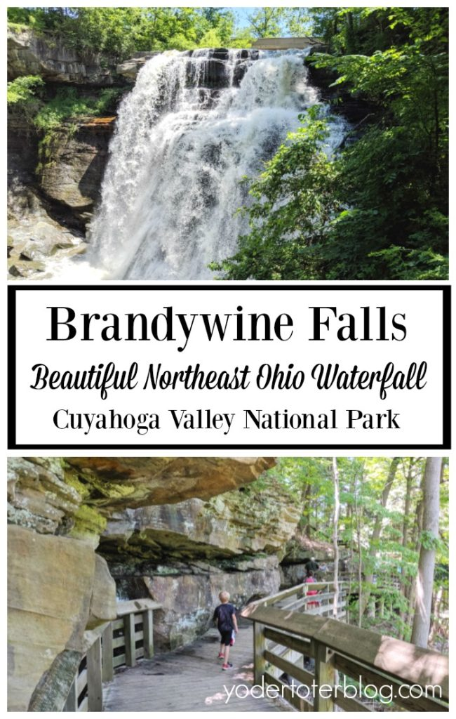 Beautiful Brandywine Falls, within Cuyahoga Valley National Park in Northeast Ohio.  Things to know before visiting and tips for families with kids.  Northeast Ohio hiking.  Hiking with kids in Ohio #CVNP