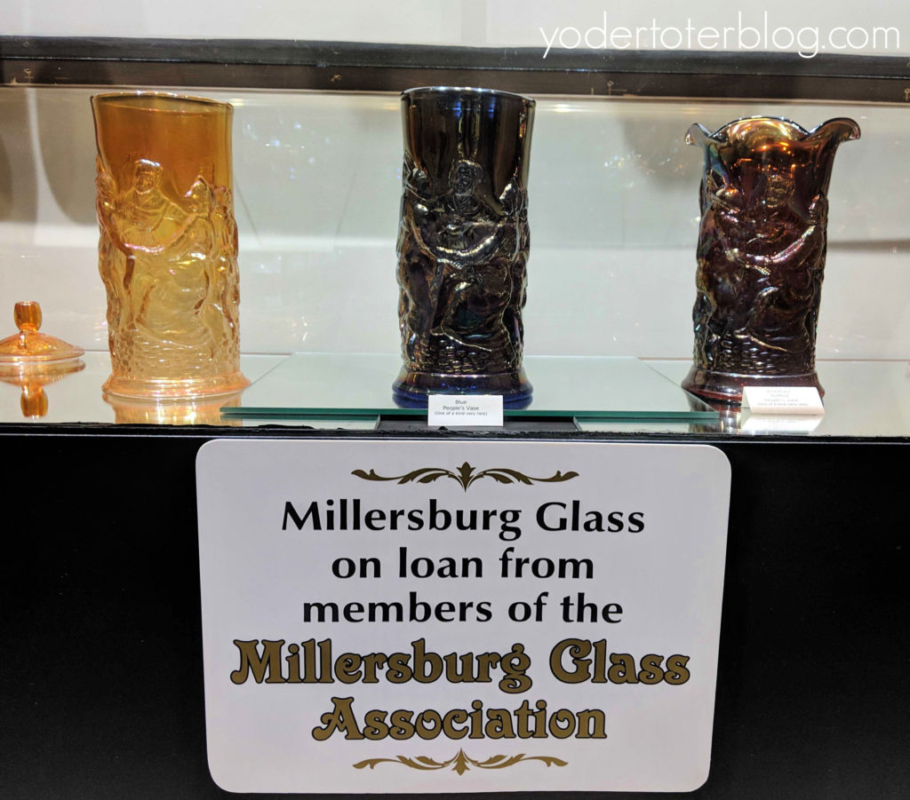 The Millersburg Glass Museum is one of the great things to do in Millersburg, Ohio.  Pictured here are the 3 People's Vases owned by the Museum, which are believed to be the most rare pieces of Millersburg Glass.
