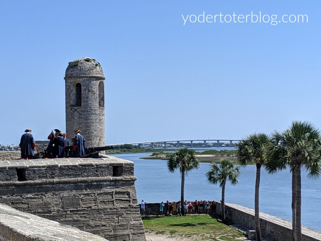 St Augustine historic fort, Castillo de San Marcos - watch the artillery demonstration from the bastion