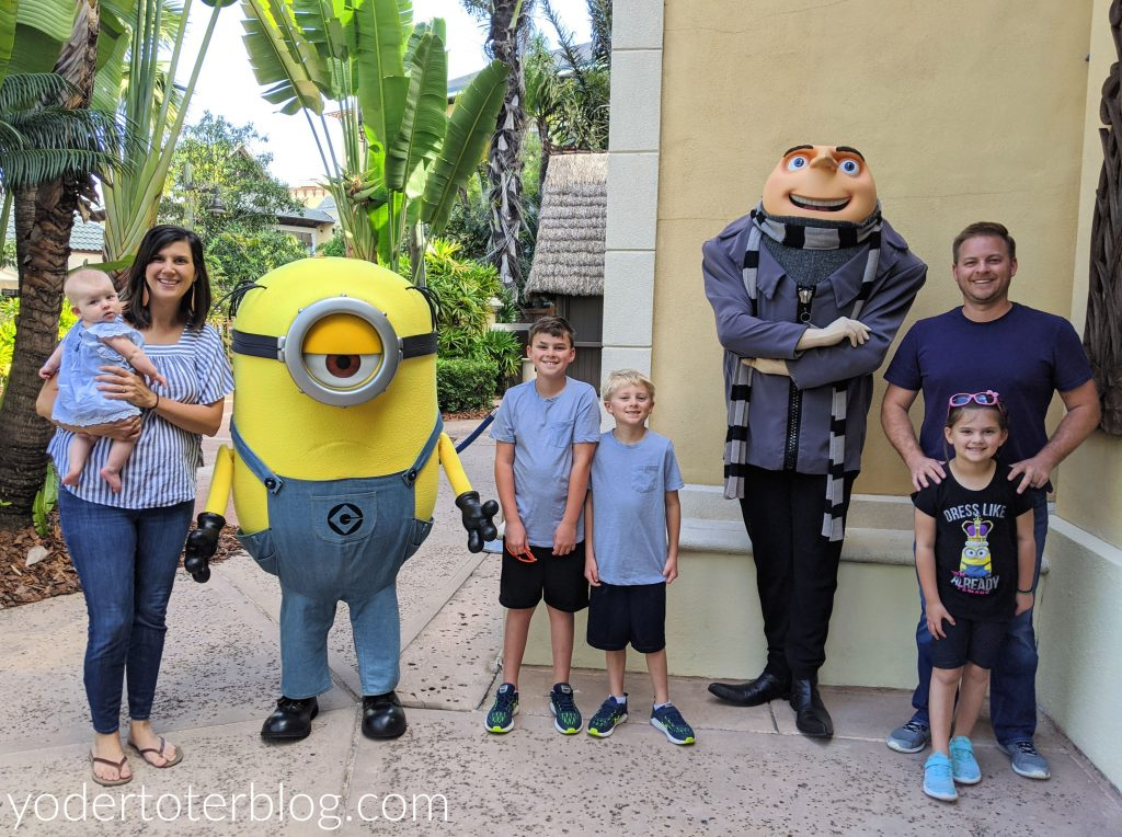 Family photo at the Despicable Me Breakfast at Loews Pacific Resort.  This Universal Orlando Character dining is fun for the entire family.