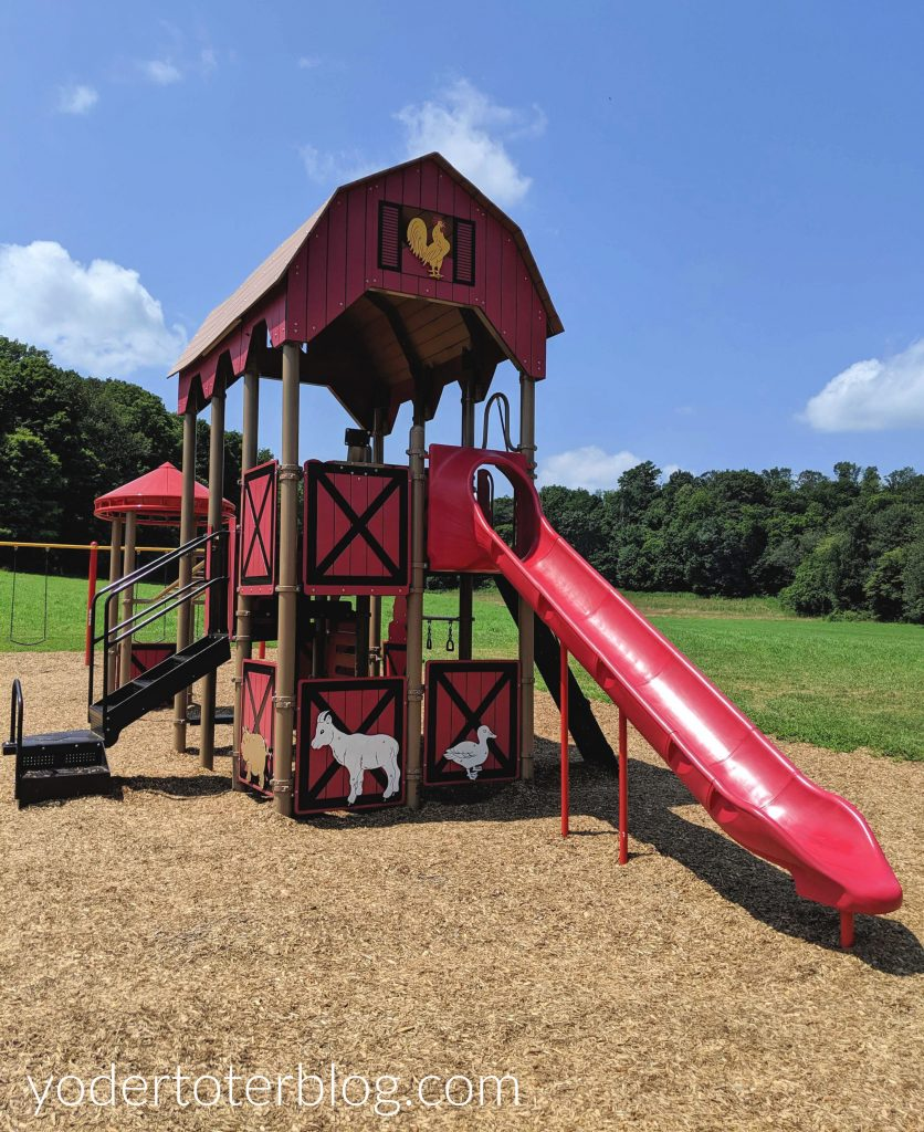The farm-themed playground at Malabar Farm State Park is sure to please the kids!