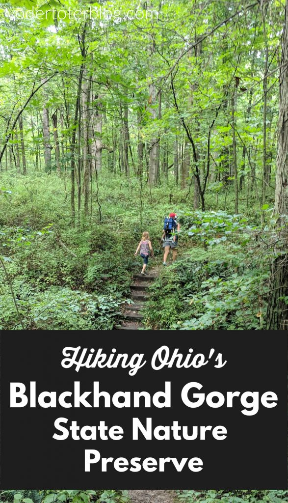 Hiking Blackhand Gorge State Nature Preserve with kids.  A great hiking spot in Central Ohio which also offers a 4-mile bike trail.  Beautiful scenery and a section of the Ohio-Erie canal are part of this great outdoor spot for families.