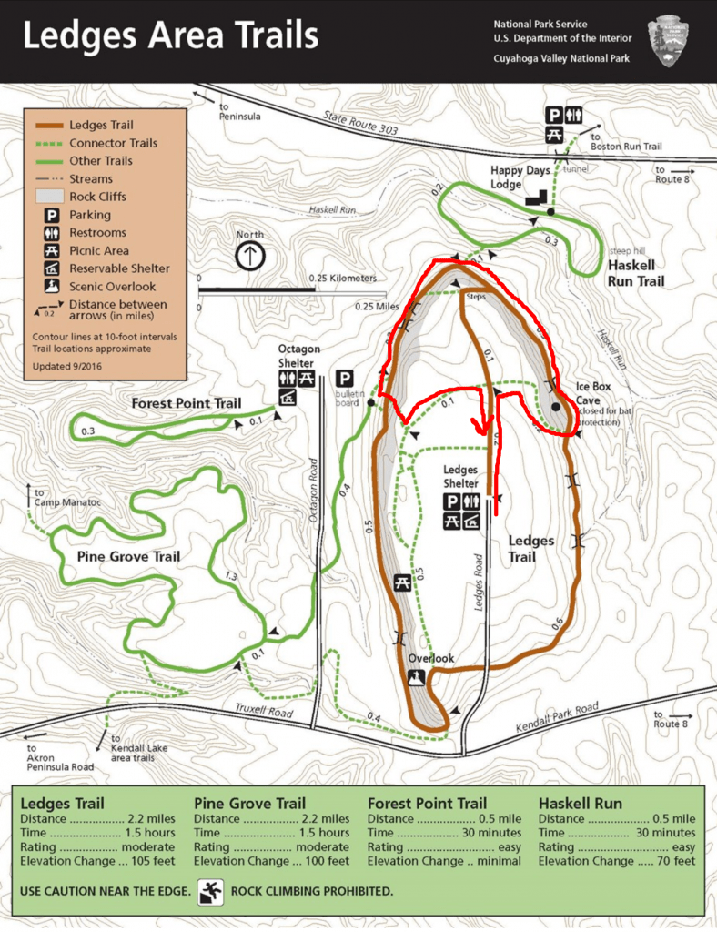 Trail map for The Ledges at Cuyahoga Valley National Park.