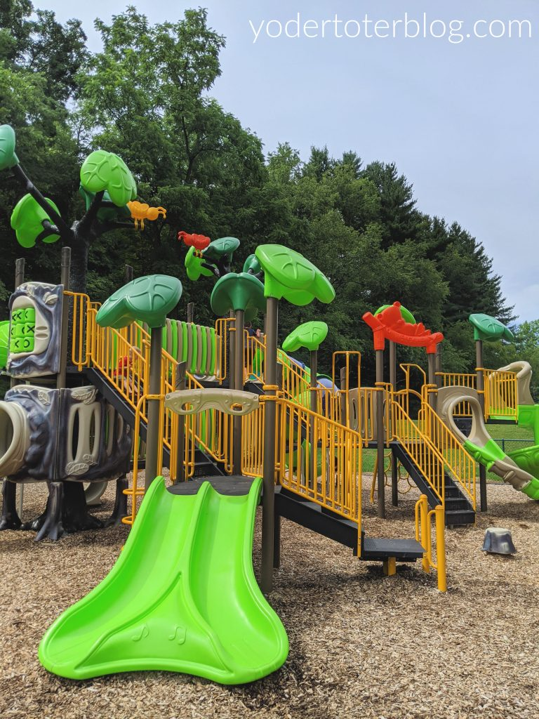 Charles Palm Park in Bellville offers new play equipment and a small pond.  This Mansfield, Ohio park is a fun stop for families.