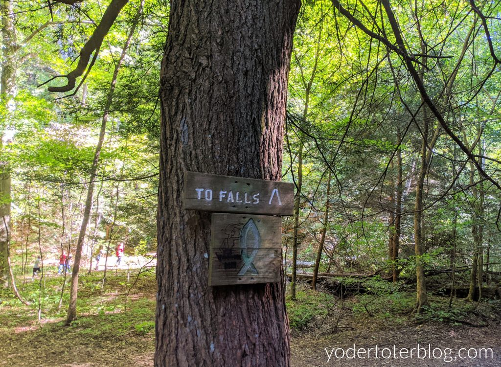 Signage at Rockstall Nature Preserve.  This hidden gem near Hocking Hills is a moderately difficult hike.