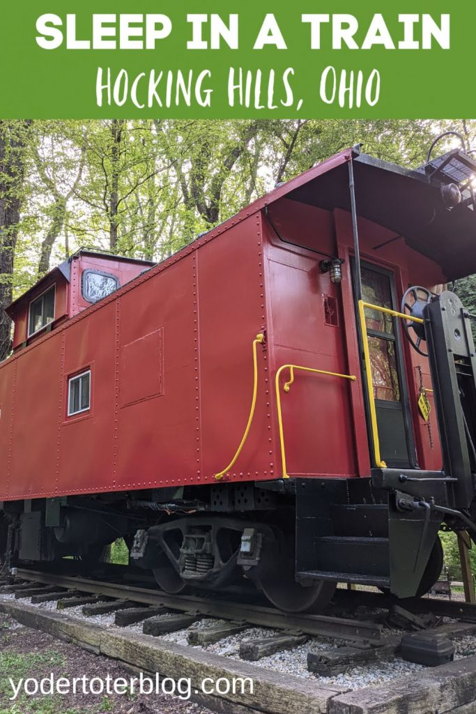 Ohio Bucket List- Sleep on a train in the Hocking Hills!  The Hocking Hills Caboose is the premier Hocking Hills cabin for families.  Unique lodging for your Hocking Hills vacation.