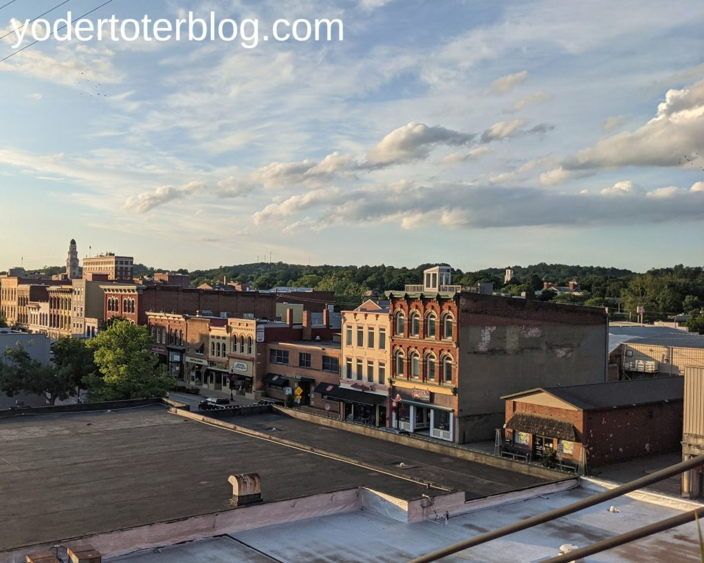 The view of downtown Marietta from the deck at The Lafayette Hotel.  Things to do in Marietta, Ohio
